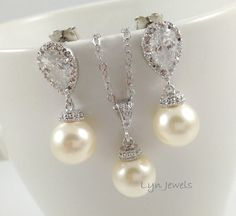 Wedding Pearl Set  Swarovski Pearl Necklace and by LynJewels