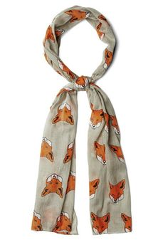Great Idea Scarf by Disaster Designs - Cotton, Sheer, Woven, Grey, Orange, White, Print with Animals, Better, International Designer
