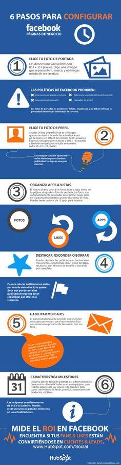 Infografía en español que muestra 6 pasos para configurar tu página de FaceBook