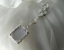 Wedding bouquet Locket  charm - Photo charm - Clear  heart gem - keepsake boxed- DIY photo charm