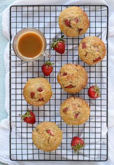 Greek Yogurt Muffins with Strawberries and Vanilla