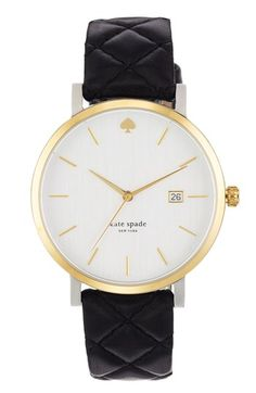 love the quilted strap! | kate spade new york 'metro grand' quilted strap watch, available at #Nordstrom