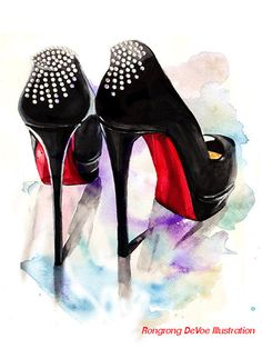 Christian Louboutin fashion illustration by RongrongIllustration, $40.00, #ChristianLouboutin #fashionillustration #fancyshoes