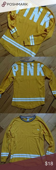 Varsity Style Pink Tee Gently used. No flaws! First 2 pictures are of the back. Oversized fit PINK Victoria's Secret Tops