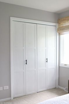 Have Old Bifold Closet Doors In Your Home? Upgrade Them With This Simple  DIY Tutorial. We Added Trim, Paint, And Sleek Black Handles For A New  Upgraded Look ...