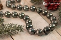 Tahitian Pearls always add a fun pop to your holiday style! || 12-15mm Cultured Tahitian Pearl Sterling Silver 18 Inch Strand Necklace [Promotional Pin]