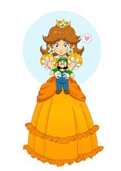 Princess Daisy and Luigi doll fan art. My Princess, Princess Peach, Disney Princess, Princesa Daisy, Luigi And Daisy, Nintendo Princess, Daisy Art, Couples Comics, Paper Mario