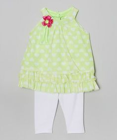 Look what I found on #zulily! Green Heart Ruffle Tunic & Leggings - Infant, Toddler & Girls #zulilyfinds