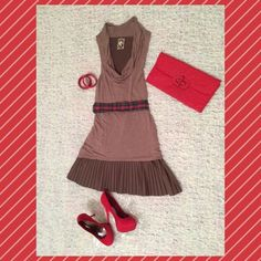 Adorable Free people dress Fun, flirty and different dress by free people!!! Dress is sleeveless with a scoop neck and pleated skirt. The color of this dress I would say is greige (grey+beige) size small. Only worn once. Free People Dresses