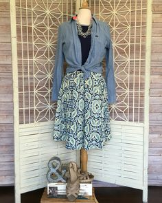 """Oh how I LOVE this challenge. Denim!!!!  Today pair denim with your favorite LuLaRoe outfit. So """"Olive"""" is wearing my Madison skirt, Classic T and a denim shirt. Added chunky sandals and necklace. I can't wait to put this on today!!!"""