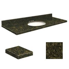 Samson 61W x 22D in. Granite Single Sink Vanity Top with White Bowl Giallo Ornamental - G6122-F2-A-W-8