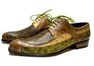 Caesar shoes snakeskin pattern green and yellow anaconda