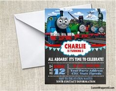 Thomas and Friends birthday party invitation, thomas the tank engine, train, chalkboard, personalized