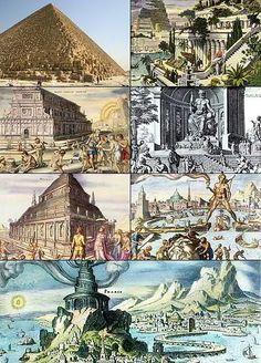 Las Siete Maravillas del Mundo Antiguo (de arriba abajo y de izquierda a derecha): la Gran Pirámide de Guiza, los Jardines colgantes de Babilonia, el Templo de Artemisa en Éfeso, la Estatua de Zeus en Olimpia, el Mausoleo de Halicarnaso, el Coloso de Rodas y el Faro de Alejandría.
