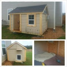 Our custom dog house for our Mastiffs, complete with carpet, AC, and a doggy door :) #mastiff #doghouse
