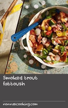 Smoked trout fattoush | Usually served as an accompaniment, this refreshing Lebanese salad with hot-smoked trout is well and truly a meal in its own right. It's also perfect for a summer picnic – simply keep the bread and dressing separate and toss together just before serving so the bread stays crisp.