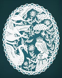 The Six Swans - Original Papercut Illustration by SarahTrumbauer on etsy