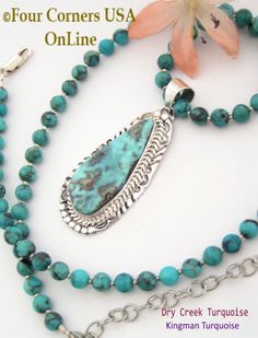 Four Corners USA Online - Large Dry Creek Turquoise Pendant 18 Inch Adjustable Bead Necklace Native American Silver Jewelry, $360.00 (http://stores.fourcornersusaonline.com/large-dry-creek-turquoise-pendant-18-inch-adjustable-bead-necklace-native-american-silver-jewelry/)