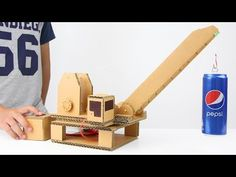 How to Make Hydraulic Powered Crane from Cardboard - YouTube
