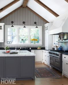 Like the Feel of the kitchen -Wood beams and painted beadboard emphasize the vaulting of the kitchen ceiling; the design team took down walls, allowing the kitchen to flow into the breakfast area and living and dining rooms. Vaulted Ceiling Kitchen, Vaulted Ceiling Lighting, Wood Ceilings, Vaulted Ceilings, Basement Ceilings, Vaulted Ceiling With Beams, Vaulted Ceiling Bedroom, Kitchen Ceiling Design, Accent Ceiling