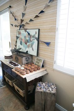 Vintage travel-themed baby shower - #babyshower #desserttable
