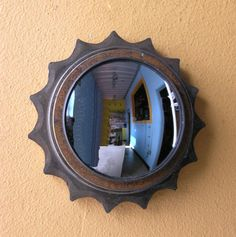 Round metal mirror industrial salvaged gear wall decor home Industrial Wall Mirrors, Modern Industrial, Convex Mirror, Metal Mirror, Entryway Mirror, How To Clean Mirrors, Unique Housewarming Gifts, Metal Shop, Indoor Outdoor