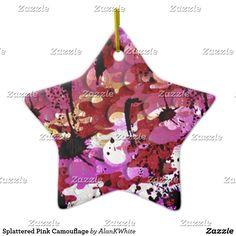 Splattered Pink Camouflage Ceramic Ornament