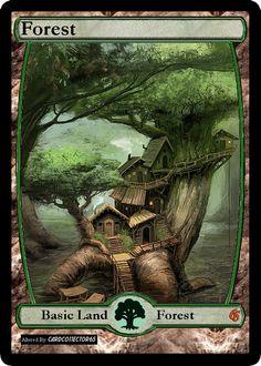 Zendikar style FOREST 1.0 MTG Dragons of Tarkir, M15, Magic Origins by cardco11ector65 on Etsy