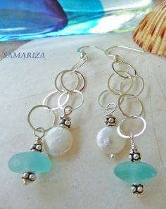 Sea Glass Dangle Earrings, Samariza