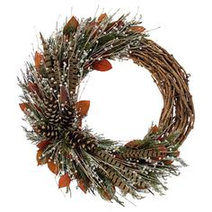 Hang this preserved cedar, pinecone, and pheasant feather wreath in the entryway for a pop of harvest spirit, or lean it on the mantel as a seasonal accent.