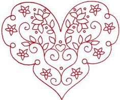 Japanese Embroidery Designs Redwork Valentine's Heart 4 Embroidery Design by Kinship Kreations Embroidery Hearts, Learn Embroidery, Silk Ribbon Embroidery, Hand Embroidery Patterns, Vintage Embroidery, Embroidery Applique, Cross Stitch Embroidery, Machine Embroidery Designs, Embroidery Sampler