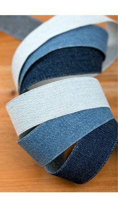 Billie Jean Denim Fabric Ribbon.  2.5cm 4cm  3Colors by HOLYCO