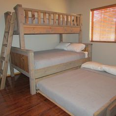 www.LakesideAZcabin.com in Pinetop-Lakeside.  Our custom built bunk bed sleeps 5.  Twin on top, full size on bottom with full size trundle.  Split floor plan with 3 bdrm/2bath only 4 minute drive to Show Low Lake.