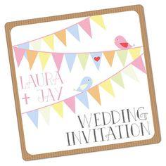 Bunting Vintage Pocketfold Wedding Invitation by WhyteWeddingsUK