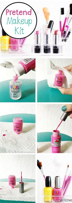 Kid's love to play with makeup, and although real make up is what they automatically go for, this pretend package is safe for kids and saves you money! http://www.ehow.com/how_12343338_create-pretend-makeup-kit-kids.html?utm_source=pinterest.com&utm_medium=referral&utm_content=freestyle&utm_campaign=fanpage