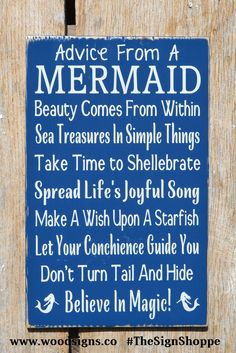 Mermaid Beach Signs, Advice From A Mermaid Wall Art Custom Wood Beach Decor Ocean Wood Sign Girls Nautical Nursery Bedroom Bathroom Plaque