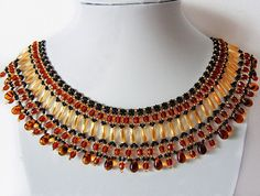 Free pattern for necklace Amber Drops Click on link to get pattern - http://beadsmagic.com/?p=6311