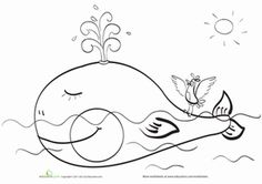 Happy Whale Coloring Page
