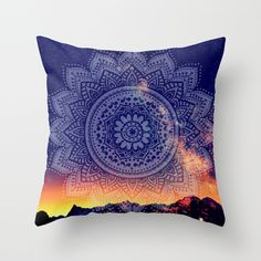 Night Mandala Throw Pillow