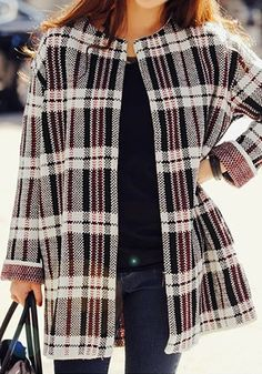 This classic-styled plaid open front cardigan has multi-colored prints all over its stretchable fabric and is styled with side pockets. | Lookbook Store Outerwear