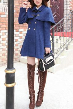 Double Breasted Wool-blend Cape Coat, with boots, minus purse