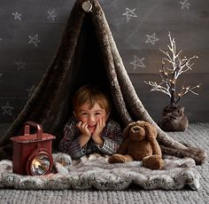 indoor camp out with luxe faux fur. #rhbabyandchild