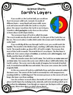 This easy to read, one page passage all about Earth's Layers is perfect for grade science. Reading Comprehension Passages, Comprehension Questions, 4th Grade Science, Teaching Science, Science Education, Earthquake Hazards, All About Earth, Outer Core, Earth Layers