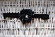 Black Dot Shabby Chiffon Flower with a Rhinestone by MadiMosBows, $7.50 www.madimosbows.etsy.com