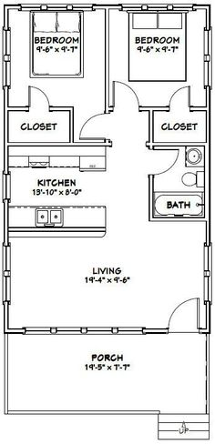 20x32 Tiny House -- #20X32H4 -- 640 sq ft - Excellent Floor Plans