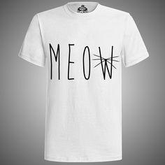 "modelo ""meow white"" hombre mujer playera moda male female t-shirt fashion"