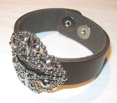 Handmade Brown Leather Cuff Bracelet with Antique by LopakaDesigns