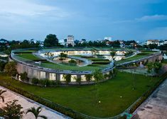 Vo Trong Nghia's Farming Kindergarten has a vegetable garden on its looping roof.