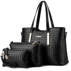 b37b29d573f0 Vincico Women 3 Piece Tote Bag Pu Leather Weave Handbag Shoulder Purse Bags      Check out the image by visiting the link. (This is an affiliate link)