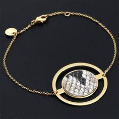 Bracelet chaine Amulette avec véritable peau de python, galuchat ou cuir - Senzou - The Gift Shop